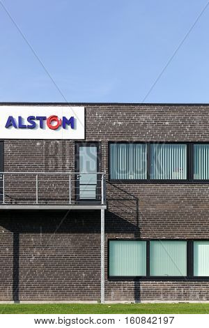 Fredericia, Denmark - September 10, 2016: Alstom building and offices.  Alstom is a French multinational company operating worldwide in rail transport markets with products like tgv and eurostars