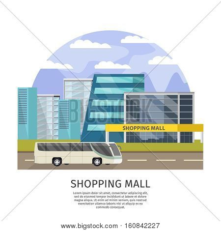 Shopping mall orthogonal design with text city buildings and public transport on white background vector illustration