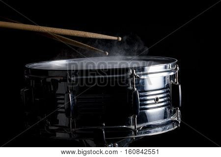Drum Sticks Hit On The Snare Drum
