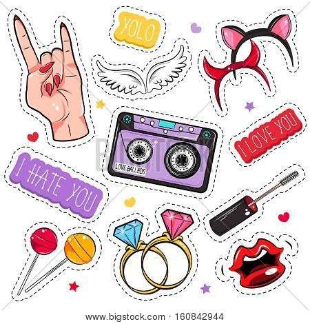 Colored and isolated comic girlish patches set for creating tattoo or stickers vector illustration