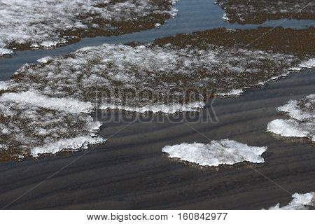 Melt the ice on the river. The river Ob Novosibirsk oblast Siberia Russia