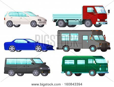 Isolated orthogonal cartoon style car images set with six cars of different colour and auto bodyshell vector illustration