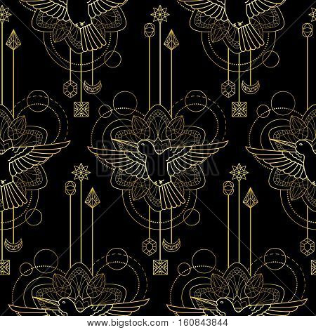 Abstract techno seamless pattern with gold colibri, mandala and geometric elements on black background. Modern textile print