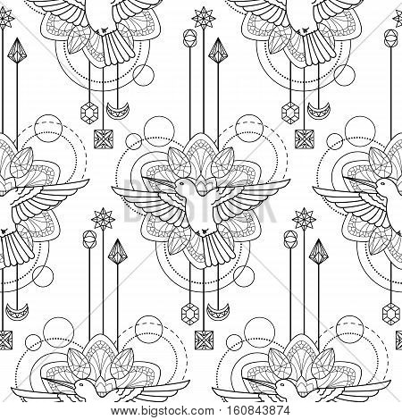 Abstract techno seamless pattern with colibri, mandala and geometric elements on white background. Modern textile print