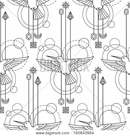 Abstract techno seamless pattern with colibri and geometric elements on white background. Modern textile print