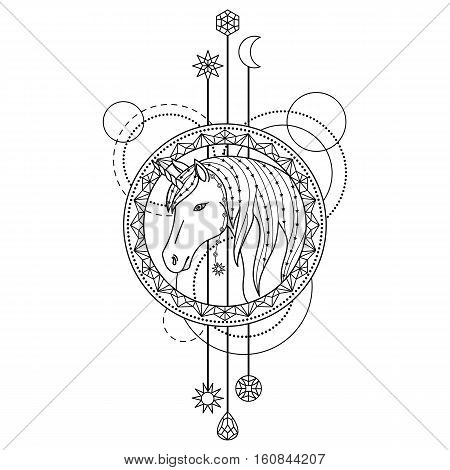 Abstract techno pattern with unicorn and geometric elements on white background. Tattoo modern symbol. Coloring page