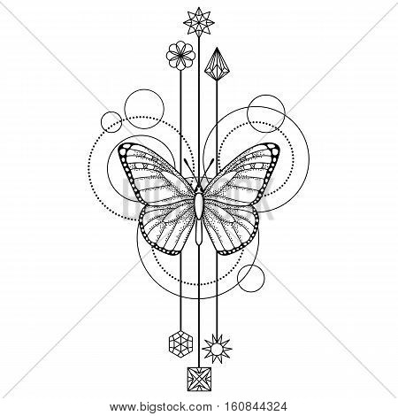Abstract techno pattern with butterfly and geometric elements on white background. Tattoo modern symbol. Coloring page
