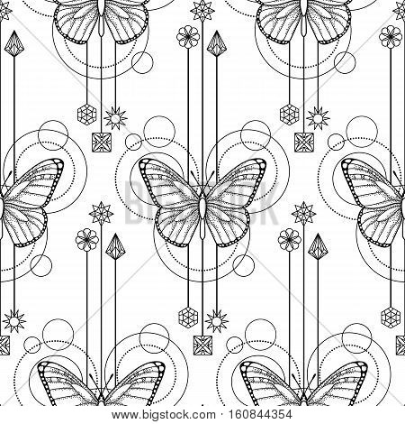 Abstract techno seamless pattern with butterfly and geometric elements on white background. Modern textile print. Coloring page