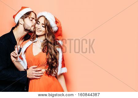 Christmas Couple With Champagne