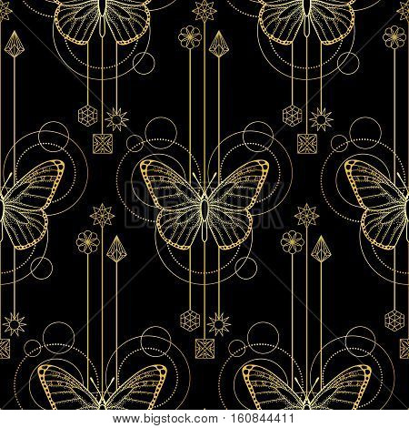 Abstract techno seamless pattern with gold butterfly and geometric elements on black background. Modern textile print.