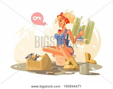 Sexy girl painter doing repair paints wall brush. Vector illustration