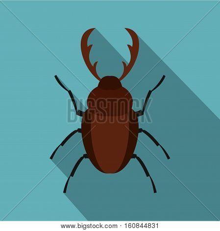 Rhinoceros beetle icon. Flat illustration of rhinoceros beetle vector icon for web