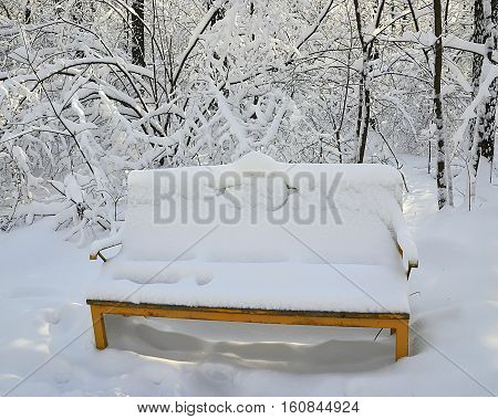 Snow covered bench in witer park.Winter background.