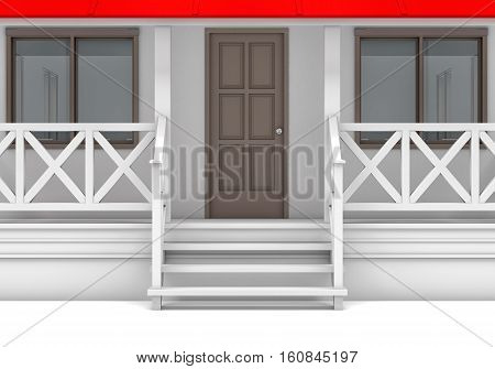 Front view. Close-up house with porch, door and windows. 3D illustration