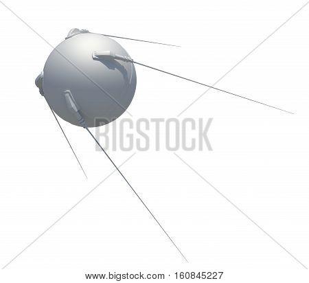 Earth satellite sputnik. 3D illustration. isolated on white background