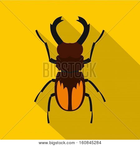 Stag beetle icon. Flat illustration of stag beetle vector icon for web