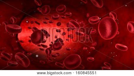 Red Blood Cells In An Artery, Flow Inside Body