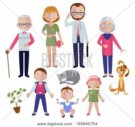 Family flat style concept with mom and dad children and grandparent pets and houseplant isolated vector illustration