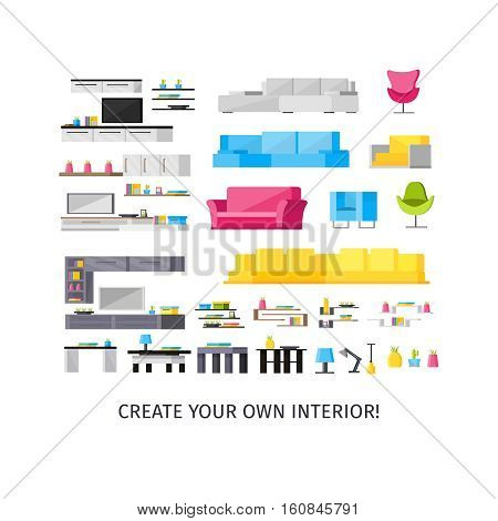 Home interior orthogonal elements set with kitchen cabinets and soft furniture tv and lamps isolated vector illustration