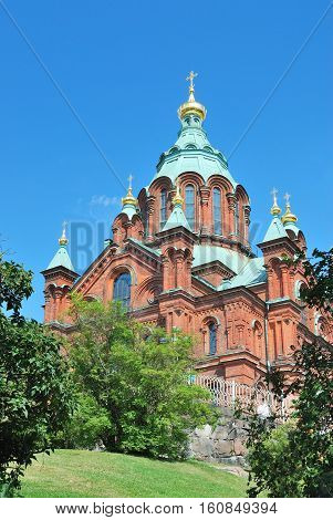 Helsinki Finland. Uspenski Orthodox Cathedral in a sunny summer day