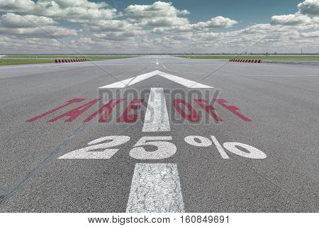 Runway of airport with arrow guideline take off and 25 percent sign printed on the asphalt