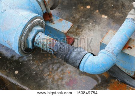 plumbing tube and water leak steel rust industrial old tap pipe