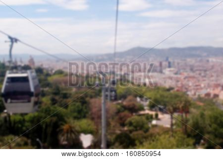 Funicular in Barcelona Spain. Barcelona blurred image. Sants Montjuic park funicular car. Barcelona city view blurry background. Travel in Spain. Summer in Barcelona. Funicular line to Sants-Montjuic