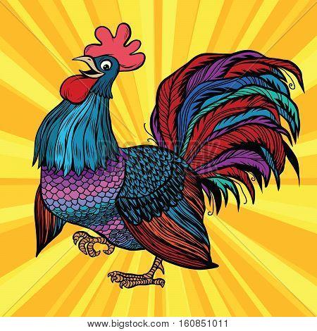 Farm bird beautiful cock, pop art retro vector. The symbol of the new year