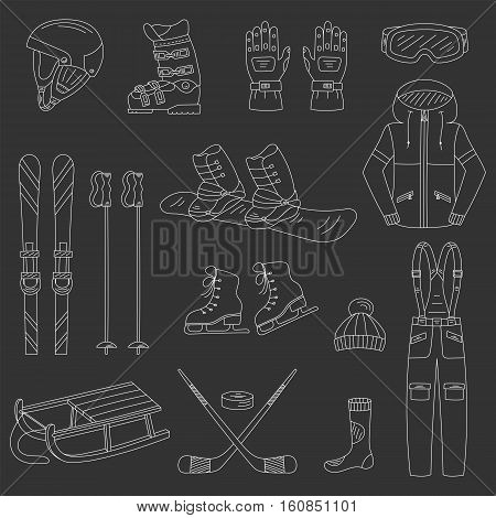 Winter sports collection, snowboard equipment, boots, board, helmet, goggles, protective clothing, ski kit, ice skates, sledge, isolated Winter activity icons hand drawn doodle vector illustration