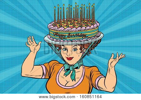 Happy birthday, retro woman and the hat cake, pop art vector. Confection and festive candles
