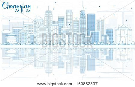 Outline Chongqing Skyline with Blue Buildings and Reflections. Business Travel and Tourism Concept with Modern Architecture. Image for Presentation Banner Placard and Web.