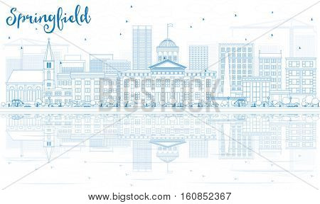 Outline Springfield Skyline with Blue Buildings and Reflections. Business Travel and Tourism Concept. Image for Presentation Banner Placard and Web Site.