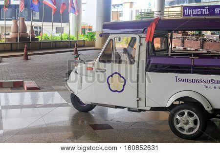 Trang Thailand. 22 December 2016. Tuktuk motor Ancient tricycle symbol of Trang province