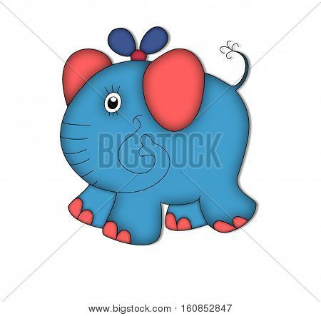 elephant ears animal drawing tail blue red