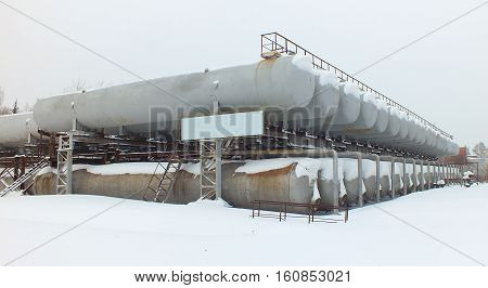 Pressure vessels in Academgorodok in winter, Novosibirsk