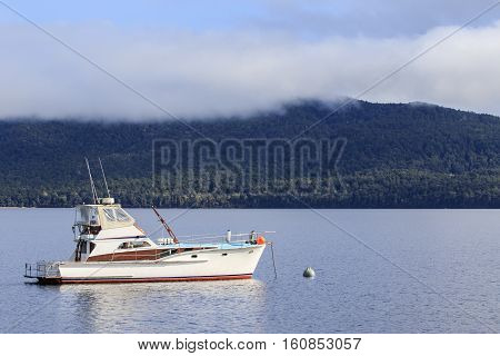 yachting boat in te anau lake fiord land national park new zealand important traveling destination
