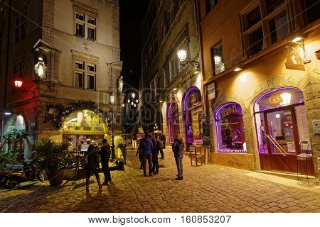 Lyon, France, December 8, 2016 : Lyon Historic District During The Festival Of Lights. This Event St