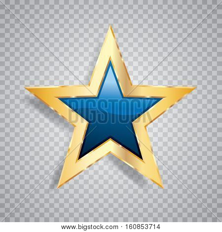 golden blue star with transparent shadow, commercial success icon