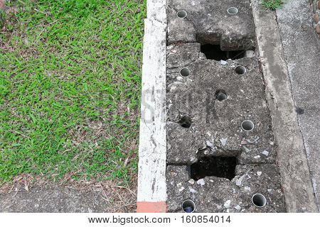 water drain or ditch on the road