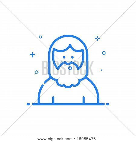 Vector illustration of blue icon in flat line style. Linear cute and whistling hipser man with beard. Graphic design concept of avatar use in Web Project and Applications Outline isolated object.