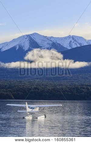 water plane floating in lake te anau fiordland national park new zealand important natural traveling destination