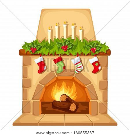Vector illustration of Christmas fireplace isolated on a white background.