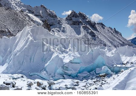 Close Up Of Khumbu Glacier From Everest Base Camp, Himalayas, Nepal. Beautiful Turquoise Glacier Ice