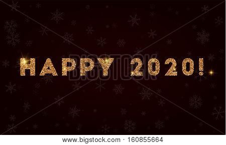 Happy 2020!. Golden Glitter Greeting Card. Luxurious Design Element, Vector Illustration.