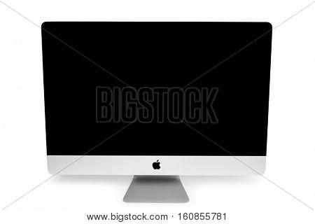 UKRAINE, RIVNE, NOVEMBER 4, 2016. Apple Computer iMac 27 retina display 5K isolated on a white background