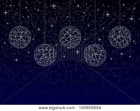 christmas or new year or winter background with blank place for your text on dark background abstract christmas balls with texture on night sky with snowflakes and stars holiday vector illustration