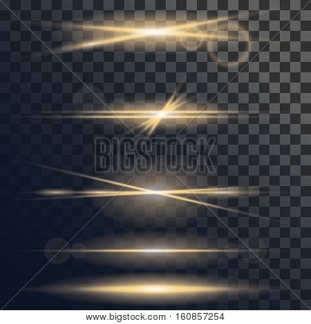 Vector set of light flare or star explosion with glowing sparkles and lens flare effect. Shining sunburst light effect on transparent background. Illustration for effect decoration with ray sparkles