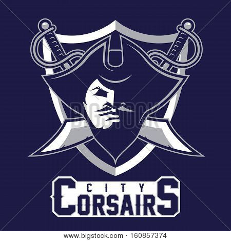 Modern professional pirates logo for sport team. Pirate mascot for sport teams. Corsairs, vector logo, symbol on a dark background.