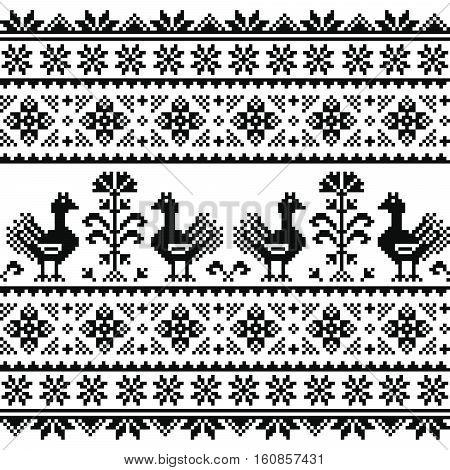 Ukrainian or Belarusian, Slavic folk art knitted black embroidery pattern with birds