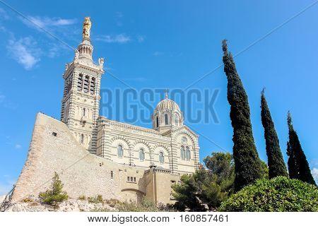 Notre Dame de la Garde church in blue sky